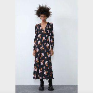 Zara Navy Floral Print Long Sleeve Maxi Dress S 8